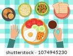 breakfast eating food on plates ... | Shutterstock .eps vector #1074945230