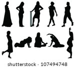 silhouette of the pregnant woman | Shutterstock .eps vector #107494748