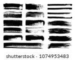 set of grunge ink brush strokes ... | Shutterstock .eps vector #1074953483