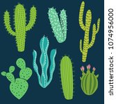 various cactus plants in... | Shutterstock .eps vector #1074956000