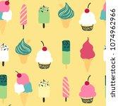 seamless ice cream pattern | Shutterstock .eps vector #1074962966
