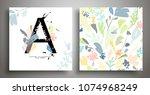 set of two art background ... | Shutterstock .eps vector #1074968249