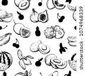 hand drawn monochrome exotic... | Shutterstock .eps vector #1074968339