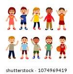 group of multiracial children... | Shutterstock .eps vector #1074969419