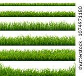big set green grass borders... | Shutterstock .eps vector #1074971180