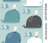seamless pattern with whale and ... | Shutterstock .eps vector #1074978368