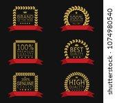 golden laurel wreath badge set... | Shutterstock . vector #1074980540