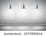 interior of white brick wall... | Shutterstock .eps vector #1074980816