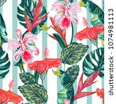 tropical seamless vector... | Shutterstock .eps vector #1074981113
