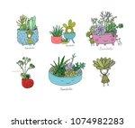 set with cute cartoon...   Shutterstock .eps vector #1074982283