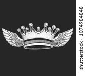crown with wings. cool emblem... | Shutterstock .eps vector #1074984848