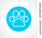 paw icon isolated on white... | Shutterstock .eps vector #1074987698