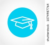graduation hat icon isolated on ... | Shutterstock .eps vector #1074987764