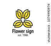 sign flower style line art   Shutterstock .eps vector #1074990974