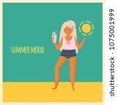 trendy girl standing on beach... | Shutterstock .eps vector #1075001999