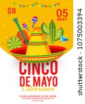 cinco de mayo party invitation... | Shutterstock .eps vector #1075003394