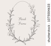 black hand drawn floristic...   Shutterstock .eps vector #1075004633