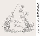 black hand drawn floristic... | Shutterstock .eps vector #1075006166