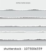 set of ripped and torn paper... | Shutterstock .eps vector #1075006559