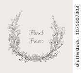 black hand drawn floristic... | Shutterstock .eps vector #1075007303
