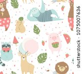 cute bright seamless pattern... | Shutterstock .eps vector #1075007636