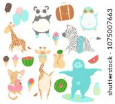 cute animals charachters... | Shutterstock .eps vector #1075007663