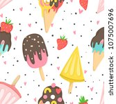 summer seamless pattern with... | Shutterstock .eps vector #1075007696