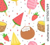 summer seamless pattern with... | Shutterstock .eps vector #1075007699