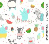 cute bright seamless pattern... | Shutterstock .eps vector #1075007726