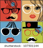vector set of abstract faces | Shutterstock .eps vector #107501144