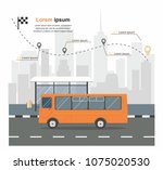 bus at the bus stop on... | Shutterstock .eps vector #1075020530