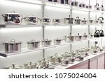 stainless steel pans for... | Shutterstock . vector #1075024004