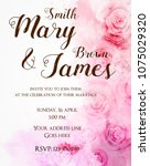 Stock vector invitation wedding template background with watercolored abstract roses pink colored 1075029320