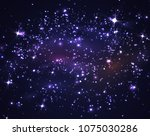 dark night sky with stars and... | Shutterstock .eps vector #1075030286
