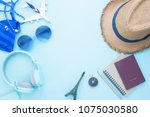 creative flat lay of travel... | Shutterstock . vector #1075030580