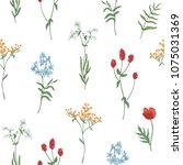 floral seamless pattern with... | Shutterstock .eps vector #1075031369