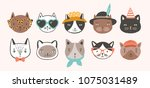 Stock vector collection of cute funny cat faces or heads wearing glasses sunglasses and hats bundle of various 1075031489