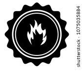 vintage emblem medal with fire... | Shutterstock .eps vector #1075035884