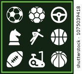 set of 9 sports filled icons... | Shutterstock .eps vector #1075039418