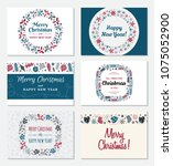 set of christmas greeting card... | Shutterstock . vector #1075052900