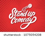 stand up comedy background.   Shutterstock .eps vector #1075054208