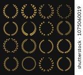 golden laurel wreaths. winner... | Shutterstock . vector #1075060019