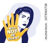 young woman refuses to be... | Shutterstock .eps vector #1075064738