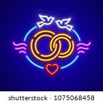 wedding and marriage neon icon. ... | Shutterstock .eps vector #1075068458