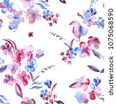 small floral elements blue pink ... | Shutterstock . vector #1075068590
