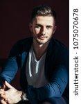 handsome sexy man portrait on...   Shutterstock . vector #1075070678