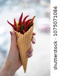 ice cream waffle cone with red... | Shutterstock . vector #1075071086