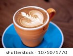 the hot coffee art in the brown ... | Shutterstock . vector #1075071770