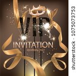 vip party banner with gold bent ... | Shutterstock .eps vector #1075073753