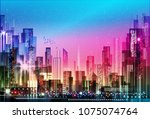 colorful illuminated night city ... | Shutterstock . vector #1075074764